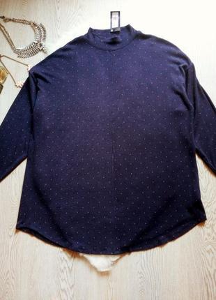 Синяя натуральная длинная туника платье гольф под горло лонгсл...
