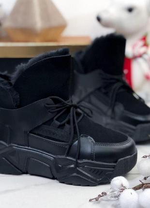 Зимние кроссовки на меху, женские зимние кроссовки чёрного цвета.