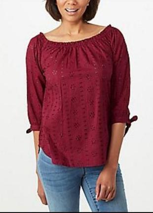 Блуза черная и красная из вышитой прошвы