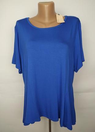 Блуза синяя новая трикотажная с баской по низу большой размер ...