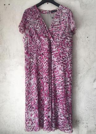Красивое платье, шифон, на подкладке, 54-56