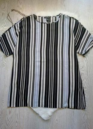 Туника длинная блуза в полоску разноцветную футболка батал бол...
