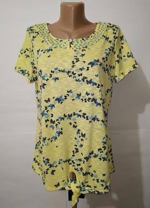 Блуза желтая в бабочки marks&spencer uk 14/42/l