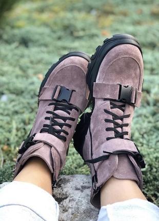 Женские зимние ботинки {натуральная замша}