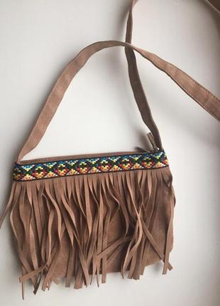 Сумка кантрі country, сумка бежева, коричнева, через плечо.