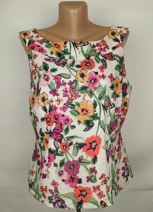 Блуза красивая льняная цветочная оригинал laura ashley uk 14/42/l