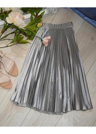 Атласная юбка ,серебро