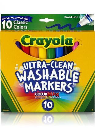 Crayola смываемые маркеры ultraclean broadline classic washabl...