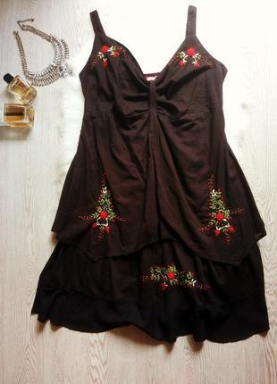 Черное натуральное короткое платье сарафан на бретелях с цвето...