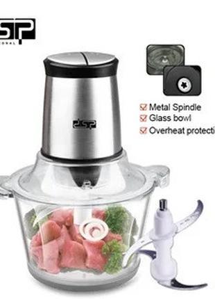 Кухонный электрический измельчитель продуктов со стеклянной ча...