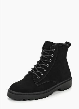 Демисезонные замшевые ботинки кожаные  topshop