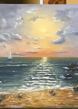 Картина маслом «Прекрасный вечер на море»