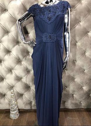 Платье в пол вечернее с кружевом, бисером и паетками, размер 48