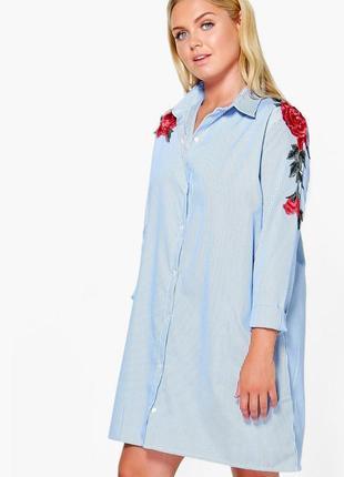 Красивое платье рубашка в полоску с вышивкой 20/54-56 размера