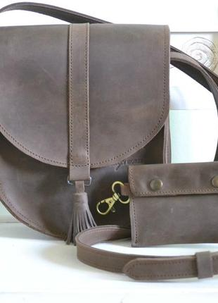 Женская кожаная сумка седло из кожи крейзи хорс morgan 011-2