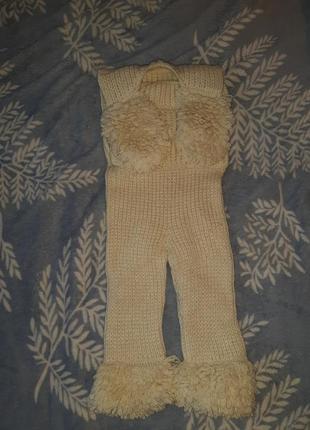 Вязаный комбинезон из натуральной шерсти, ручная работа