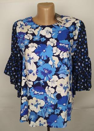 Блуза новая натуральная в цветочный принт marks&specner uk 8/3...