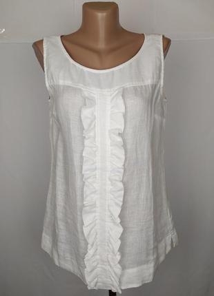 Блуза белая льняная итальянская 100% лен!!! uk 10/38/s