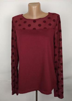 Блуза стильная комбинированная в горохи h&m uk 14/42/l