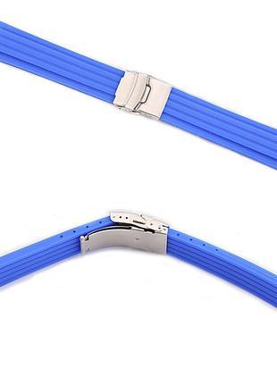 Силиконовый ремешок с застёжкой-клипсой для часов (24 мм, синий)