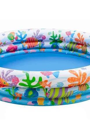 Детский круглый бассейн надувной с мячом и кругом «Аквариум» I...