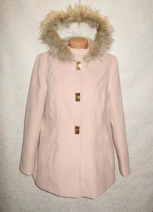 Новое стильное пудровое пальто с капюшоном на кнопках 16/50-52...