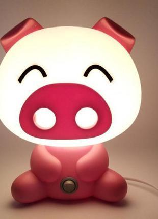 Светильник ночник детский Свинка, розовый