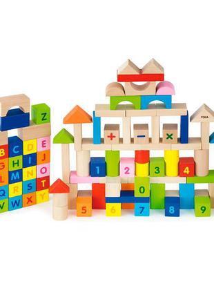 """Детский деревянный набор кубиков Viga Toys """"Алфавит и числа"""" 1..."""