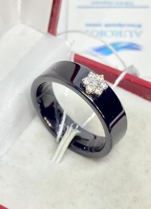Новое родированое серебряное кольцо керамика фианиты серебро 9...