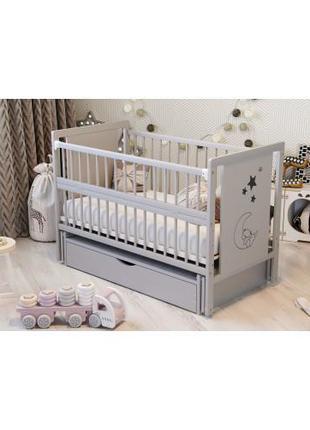 Кроватка детская с выдвижным ящиком Дубок Мишка, серый. Подаро...