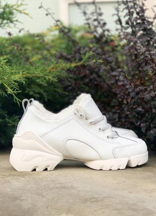 Женские ботинки dior (зима) в белом цвете