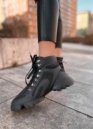 Зимние женские кроссовки fur black