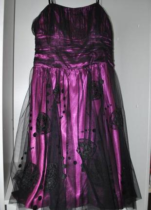 Платье teatro 16 l черно фиолетовое шикарное роскошное вечерне...