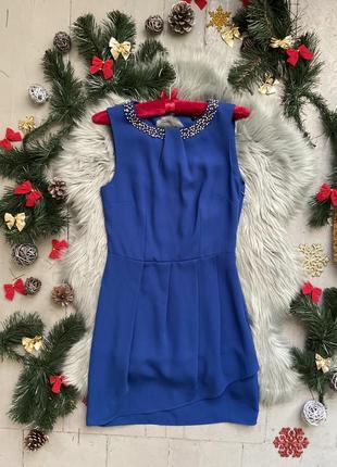 Стильное нарядное праздничное сдержанное платье в бусинках №519