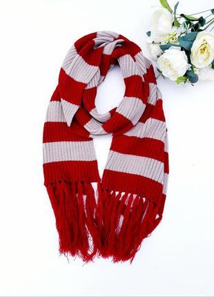 Большой теплый шарф в полоску красивый обьемный шарф