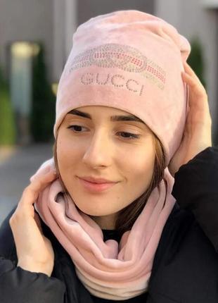 """Велюровый женский комплект """"gucci"""" шапка и снуд"""