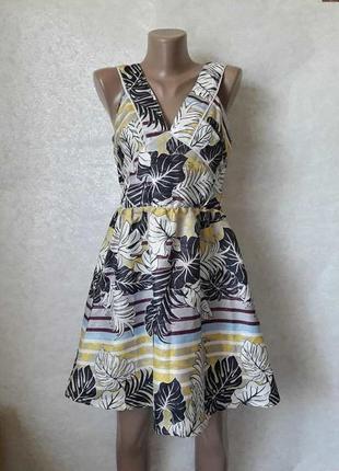 Фирменное h&m красочное платье/сарафан с крупных листах с люре...