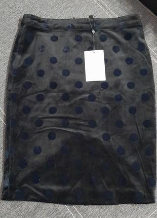 Стильная велюровая юбка-карандаш в горох soft rebels.