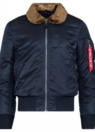 Оригинальная куртка бомбер B-15 Slim Fit Alpha Industries (синяя)