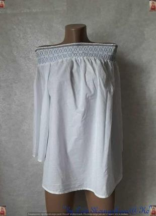 Фирменная tu белоснежная лёгкая блуза со 100 % хлопка с открыт...