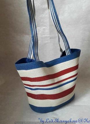 Новая вместительная пляжная сумка в морском стиле с длинными р...