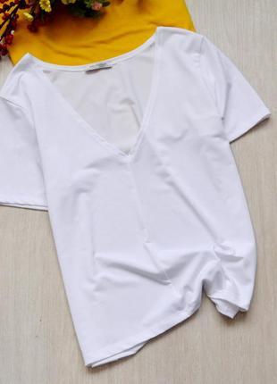 Базовая белая футболка zara trafaluc