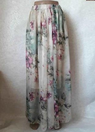 Классная лёгкая юбка в пол в нежный цветочный принт, размер хс-л
