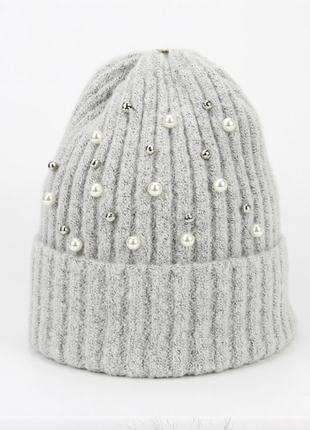 Шапка теплая, шапочка, зимняя, шапочка взрослая, с бусинами,же...