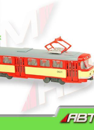 "Трамвай инерц. 9708ABD (24шт) ""АВТОПРОМ"",1:54,3 цвета, батар.,..."