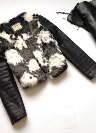 Бомбезная 😍 меховая куртка с кожаными рукавами жилетка с рукав...