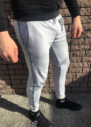 Мужские спортивные штаны - в стиле off-white (серые)