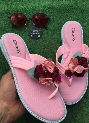 Шлепанцы - розовые с цветком