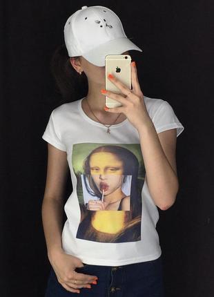 Женская футболка с принтом - мона лиза