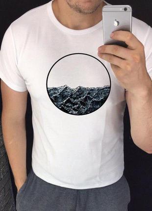 Мужская футболка с принтом - волны